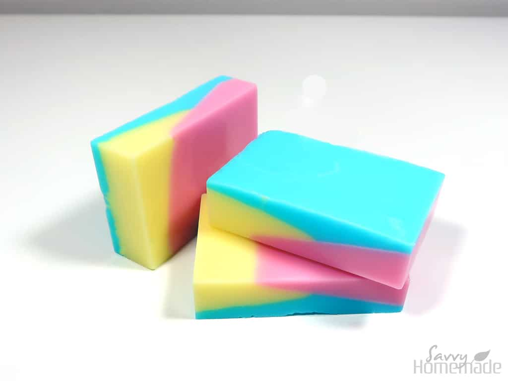 Three colored melt and pour soap recipe