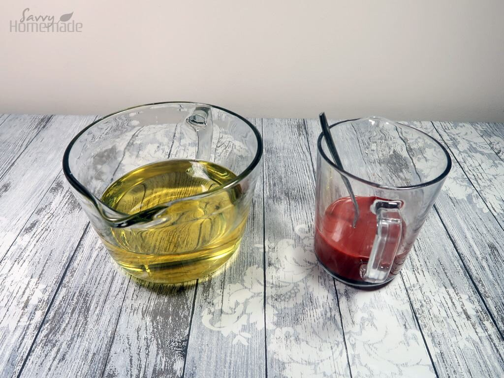 step 5: Now balance your oils and lye solution to a temperature of between 90-120F