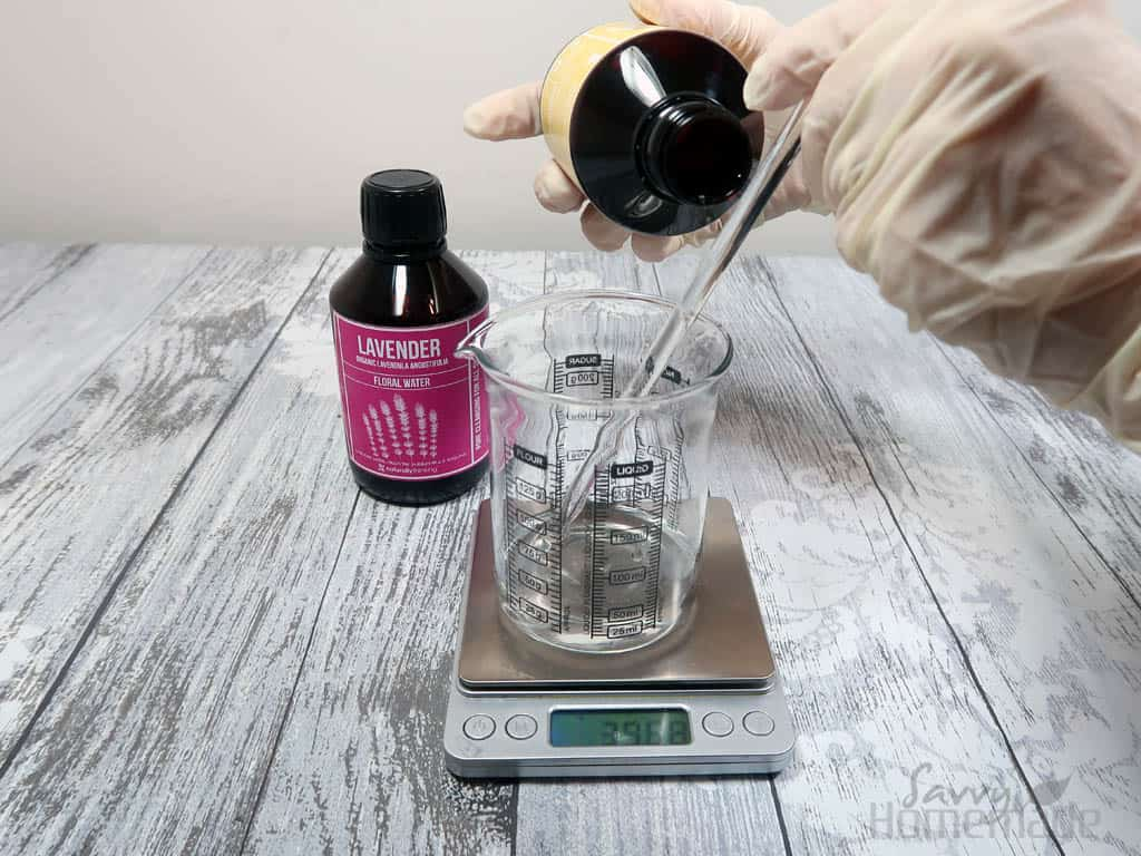 How to make micellar water step 1: Weigh out your hydrosols