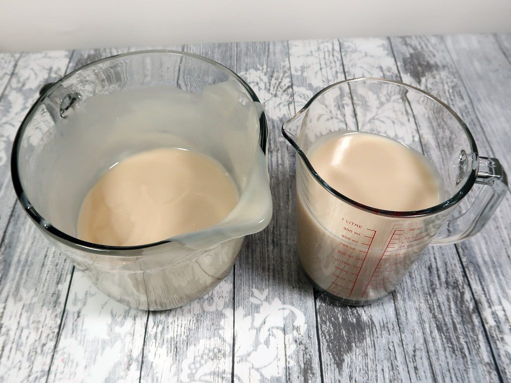 separate the batter into 2 halves