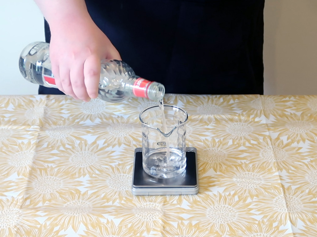 Weigh out the vodka into a clean mixing beaker/container