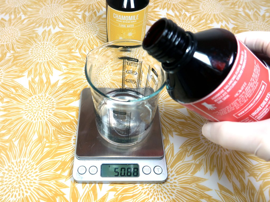 Weigh the hydrosols out into your glass beaker