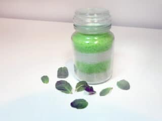 homemade bath salts with peppermint and tea tree essential oil