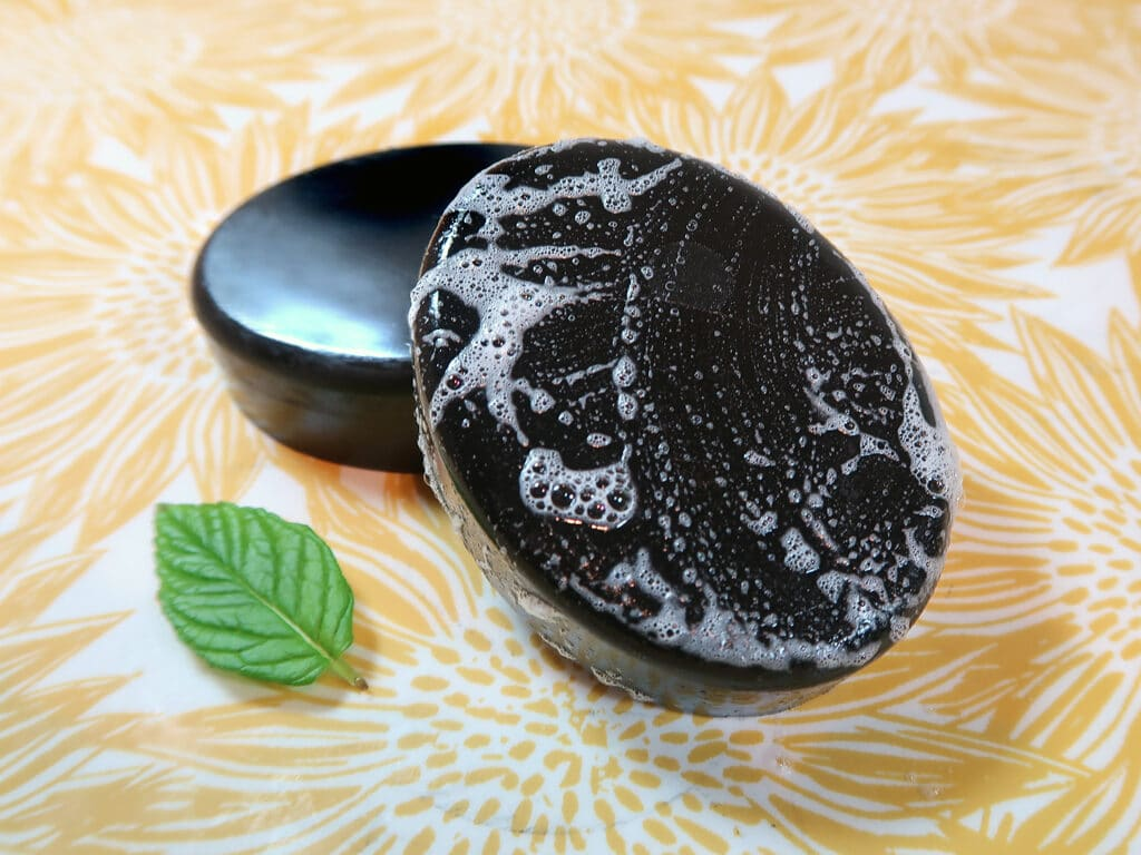 My melt and pour oily skin charcoal soap without using lye!