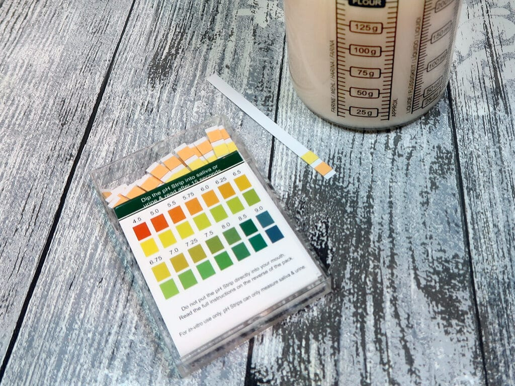 To test the PH, dip one of your universal indicator strips into your body wash mixture