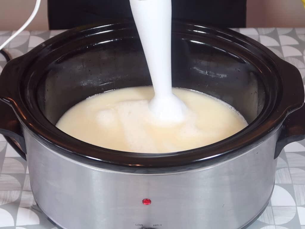 Using a stick blender, blitz liquid Castile Soap