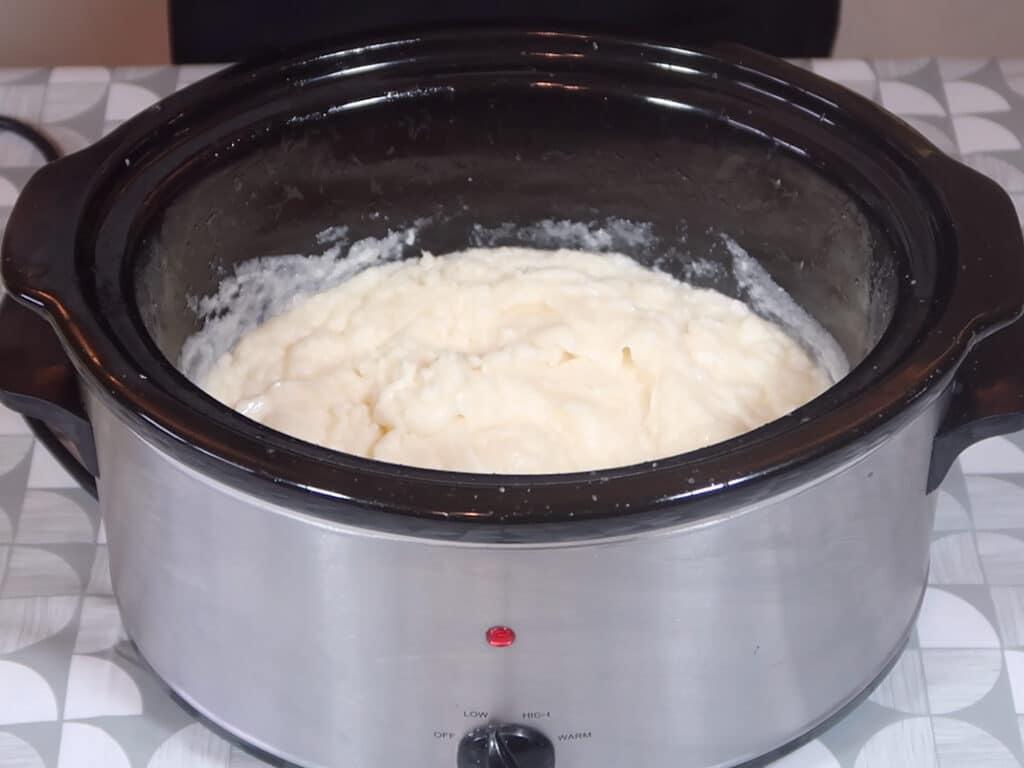 Step 6: Stop blending once your batter looks like mashed poato