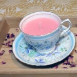 A teacup with a candle inside
