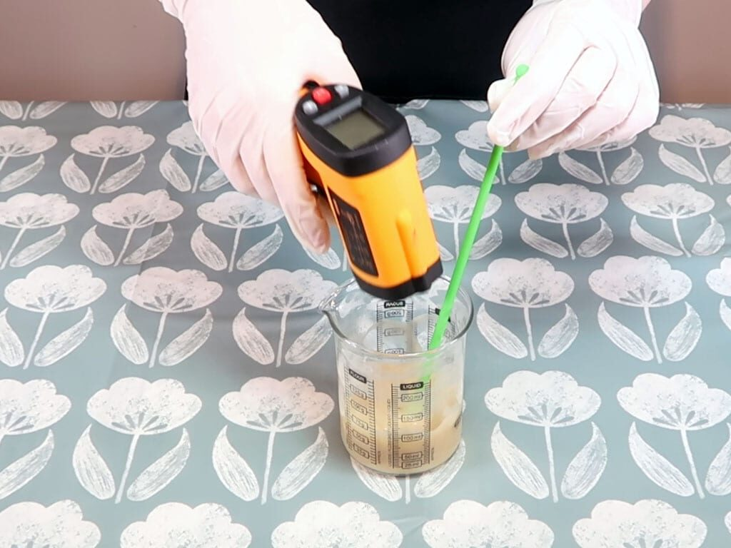 The temperature of the emulsion is checked
