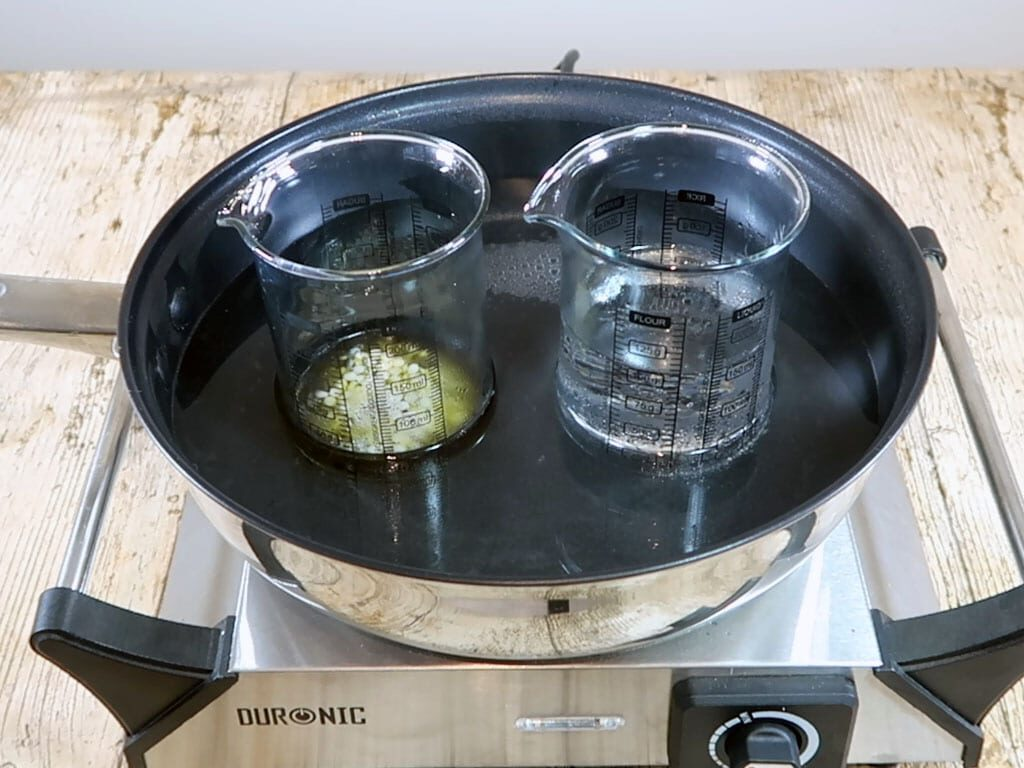 The oil part is beginning to melt as it sits, with the water part, in the double boiler