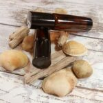 Two oil based roll on perfumes with some drift wood, shells and stones; Island Haze