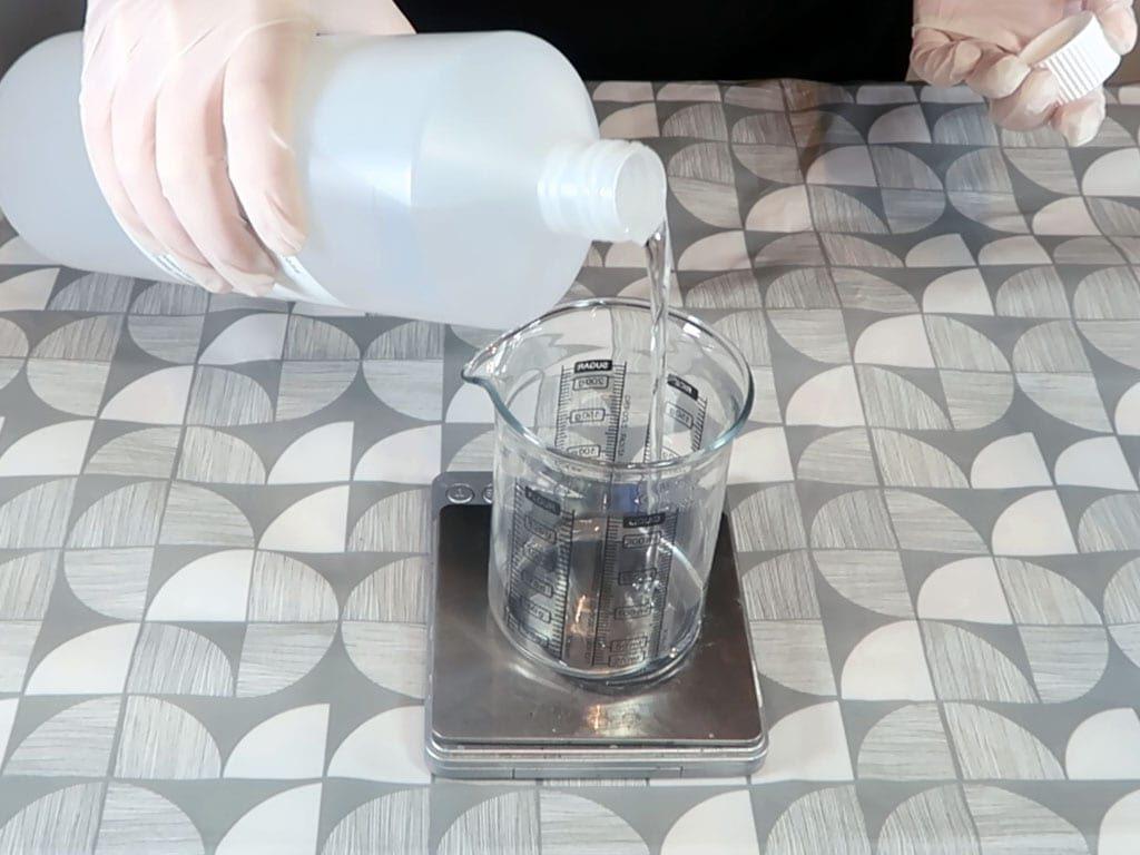 DPG is measured in a beaker