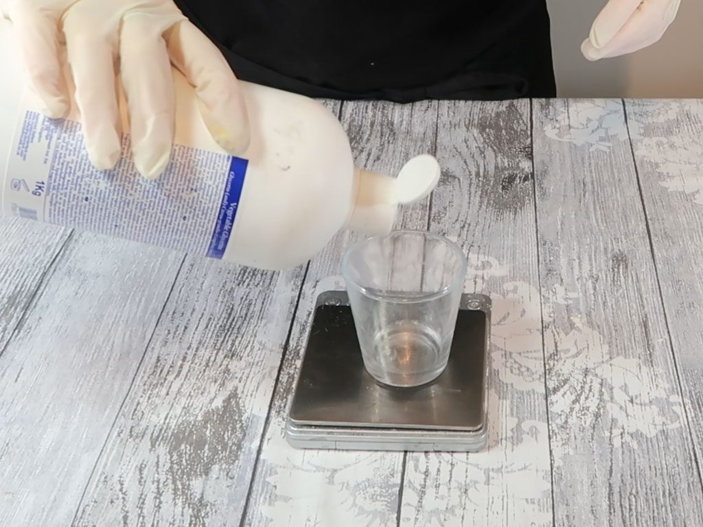 The water part ingredients are measured in a heatproof container