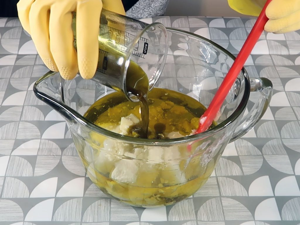 All of the oils in this recipe (excluding the essential oil) are added to a heatproof mixing bowl